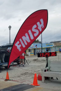 finish line sign with a timer electronic sign