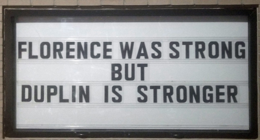 sign that says Florence was strong but duplin is stronger