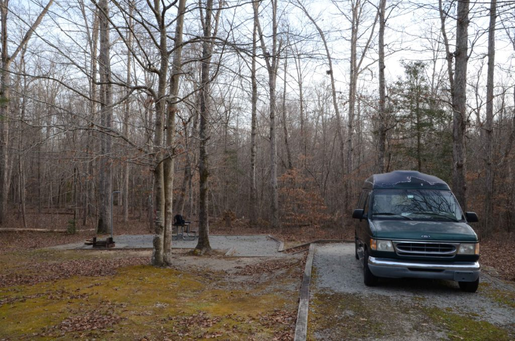 Green van at camp site in Medoc Mountain State Park