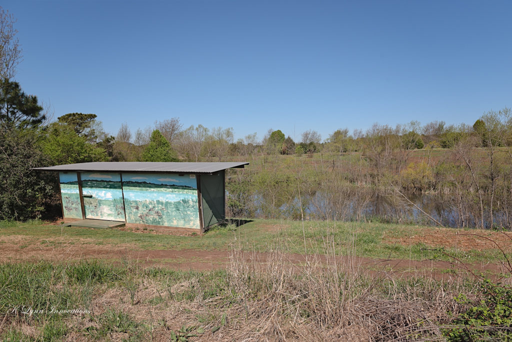 Bird blind covered in colorful mural overlooking a pond at Prairie Ridge Ecostation
