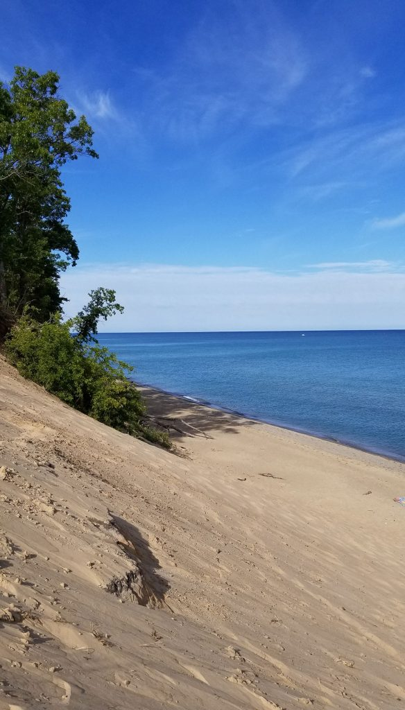 Lake Michigan view with Mount Baldy sand dune in foreground