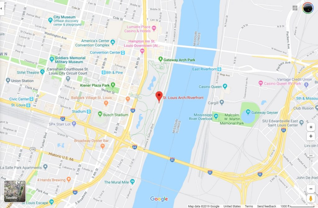 Map showing St Louis Arch location
