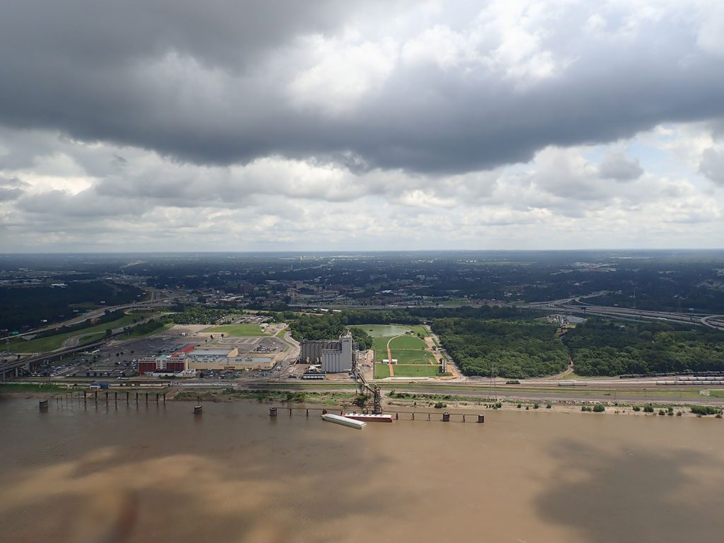 View of Mississippi River and Illinois from top of St Louis Arch