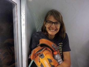 Woman inside tram pod of St Louis Arch
