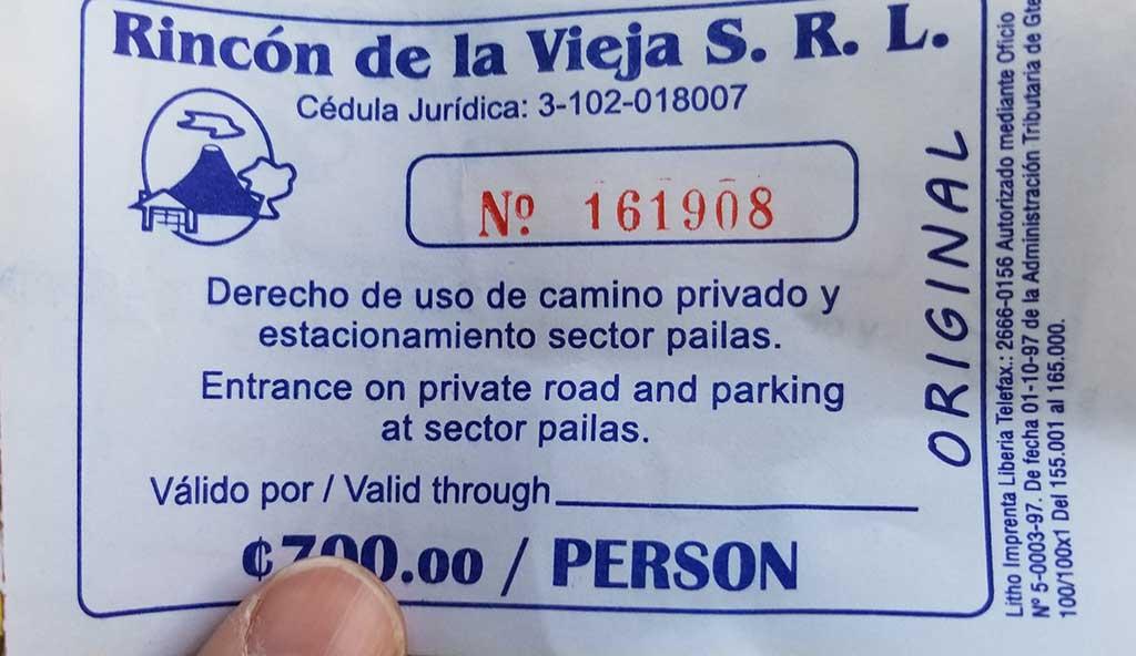 Pass for Rincon de La Vieja National Park