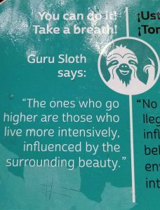 "Sign with ""Guru Sloth"" quote: The ones who go higher are those who live more intensively, influenced by the surrounding beauty"