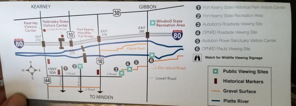 Map showing sandhill crane migration viewing spots near Kearney Nebraska